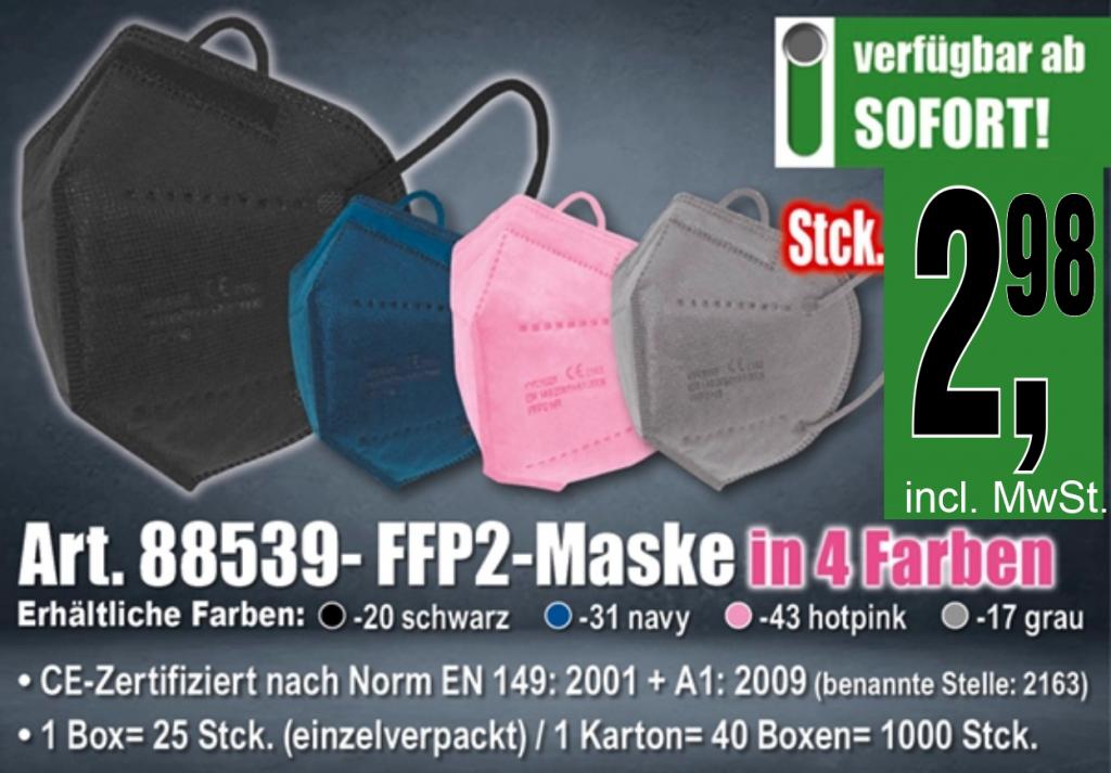 Mund und Nasenschutz. Zertifizierte FFP2 Masken in verschiedenen Farben für Ihren optimalen Schutz und als modische Behelfsmaske.
