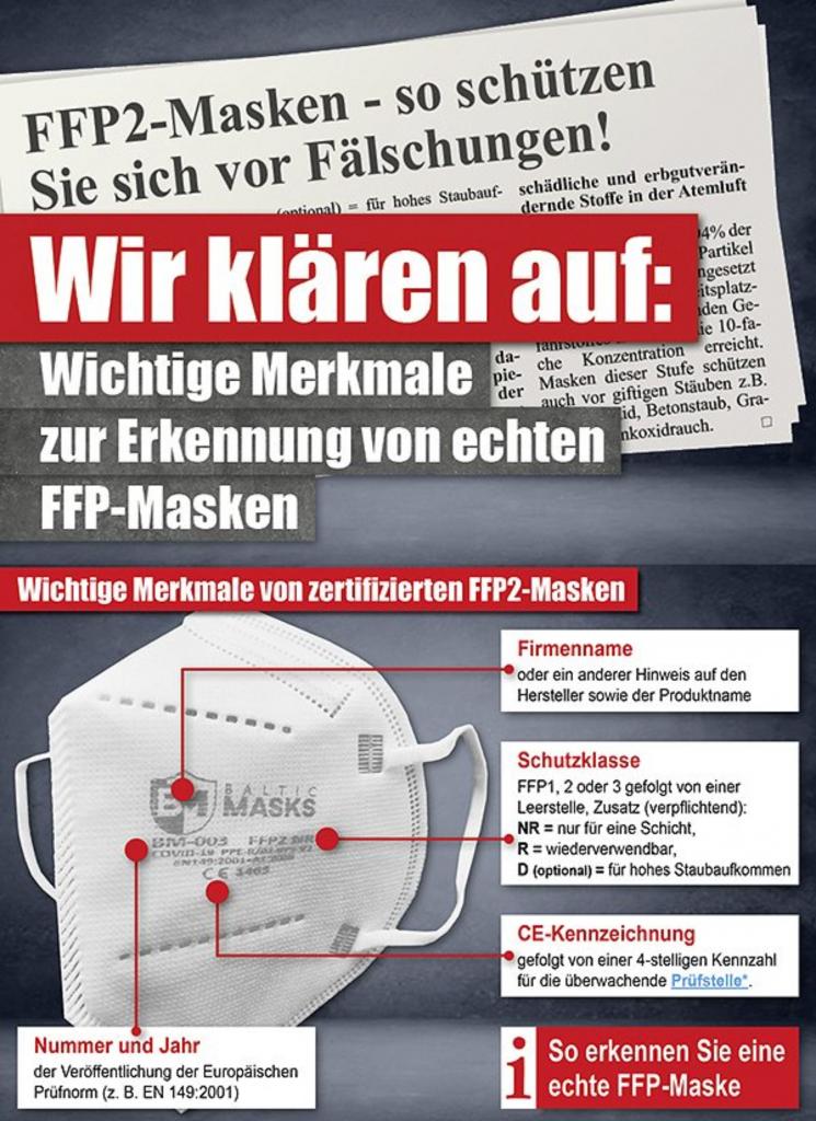 So erkennen sie eine echte FFP2 Maske. Diese können wir für Sie auch bedrucken.