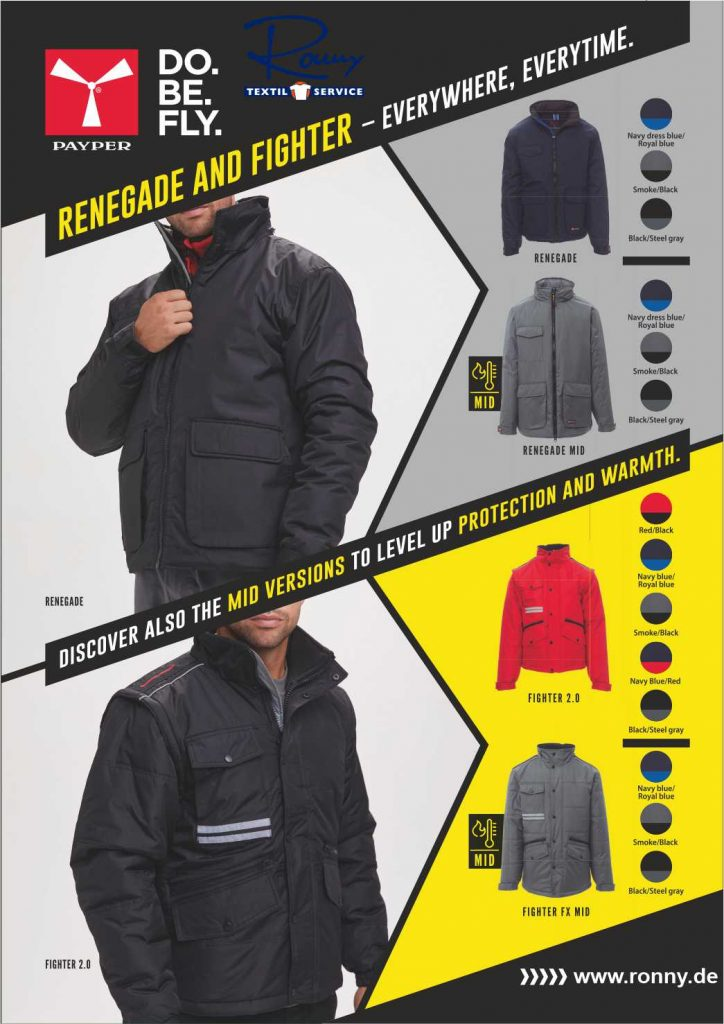 Jacken von Payperwear präsentiert von Ronny T Shirt Druck zum Besticken und Transferdruck